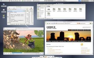 Xfce-Desktop mit Mplayer und Midori